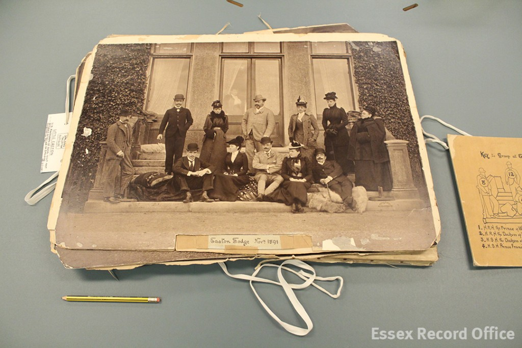 The largest print from the Spalding collection, with a pencil to give an idea of scale. It shows the Prince of Wales's visit to Easton lodge near Great Dunmow in 1891, the home of his mistress, Daisy, Countess of Warwick. The prince is standing in the centre of the back row, with Daisy to his left.