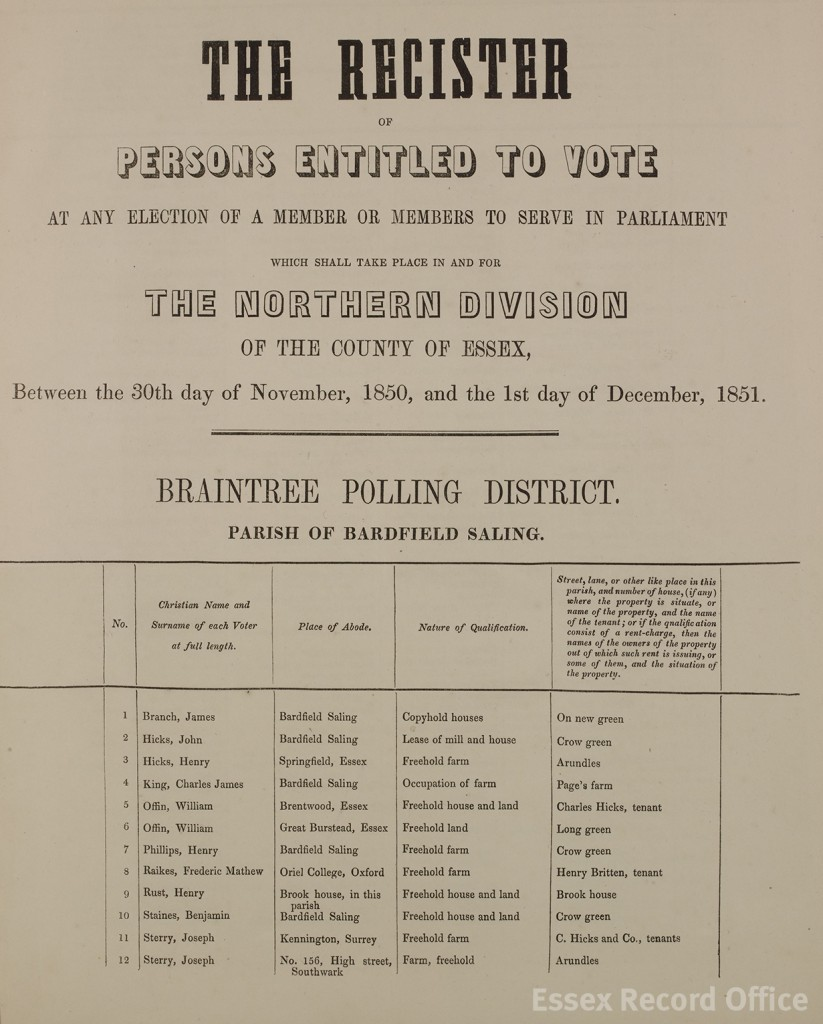 Electoral register page for Bardfield Saling, 1851 (Q/RPr 1/10)