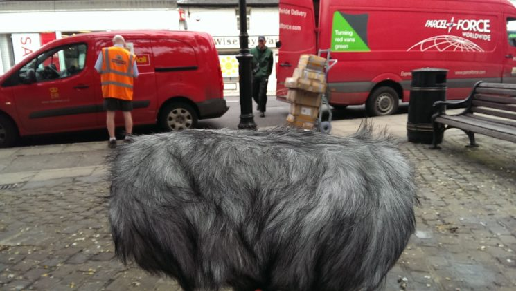 Photograph of microphone in front of Royal mail vans