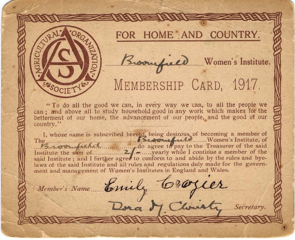 Broomfield WI Membership Card Emily Crozier 1917