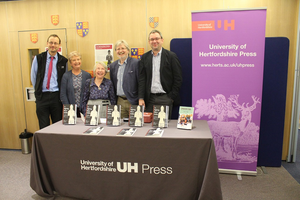 The editors and some of the contributors to The Fighting Essex Soldier, from left to right: Neil Wiffen, Gloria Harris, Dr Jennifer Ward, Dr Christopher Thornton, Dr Herbert Eiden.