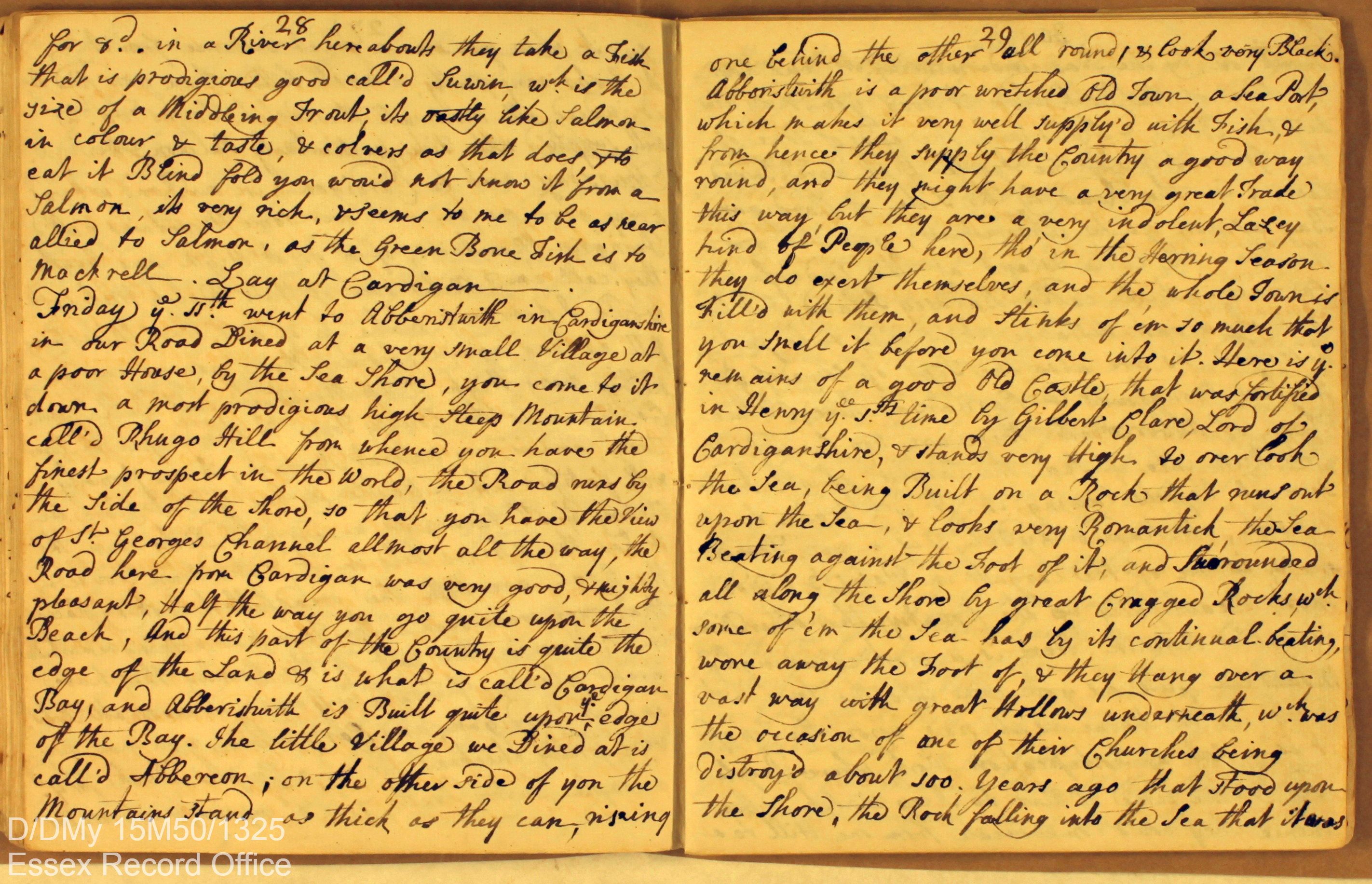 Digital image of page from handwritten travel journal