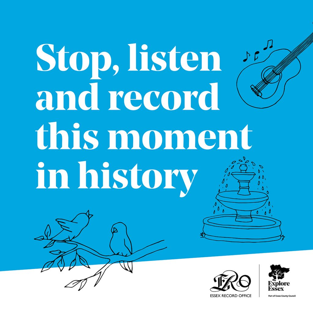 Logo for Essex Sounds of Silence campaign with text 'Stop, listen and record this moment in history'