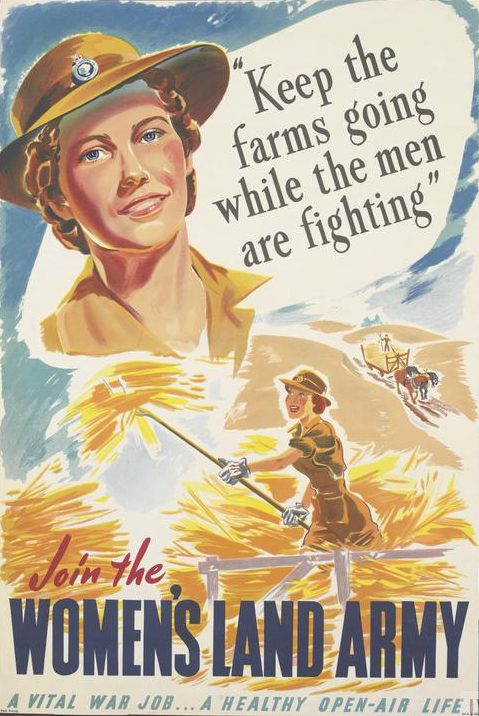 "Advertising poster for Land Army, with the title integrated and positioned in the lower quarter, in red and in dark blue. The text is integrated and placed in the upper right, in black, and across the bottom edge, in light blue. All set against a white background. image: a shoulder-length depiction of a member of the Women's Land Army, smiling and looking directly at the viewer. The text reads: ""Keep the farms going while the men are fighting. Join the Womens Land Army. A vital war job... a healthy open-air life"""